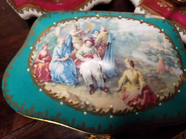 "Teal Chest - Serenade Woman JEWELRY BOX - Fifth One Made 5 of 250 - EXTREMELY RARE - Limoges Box - 9"" x 5 1/2"" x 3"""