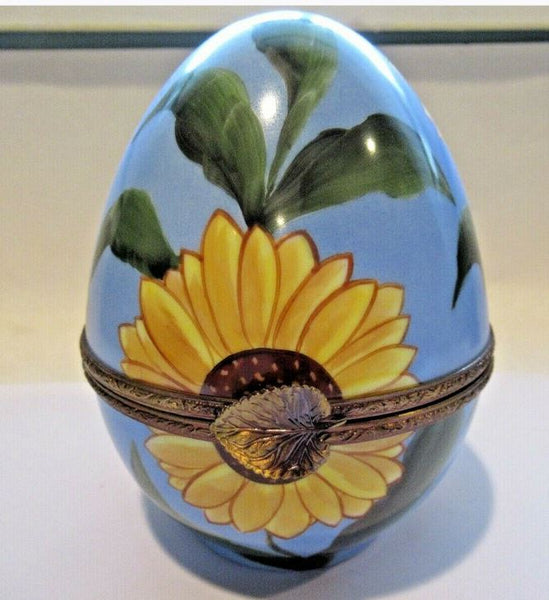 Large Sunflower Daisey Egg Limoges Box - This will take 3 xtra Days to Ship