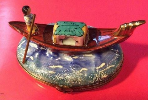 Gondola Sicily on Canal - Number 1 of 750 First One Painted - Retired Extremely Rare Limoges Box