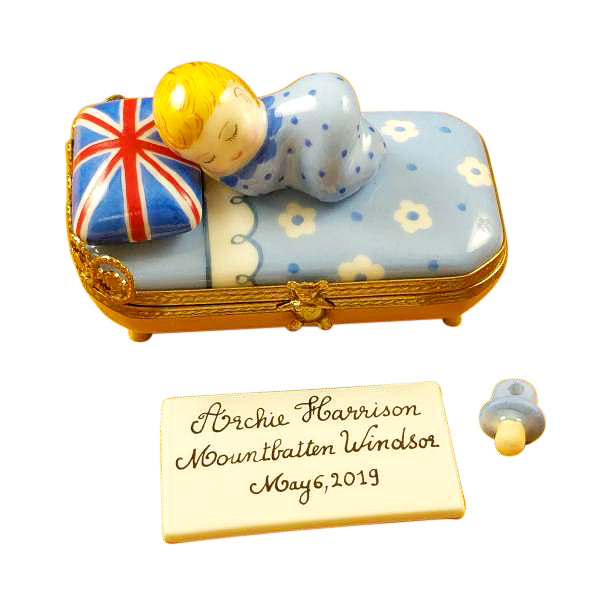 Archie Harrison Mountbatten Windsor Baby Sleeping Pacifier Plaque Limoges Boxes Limoges Boxes Porcelain Figurines Collectibles French Gifts