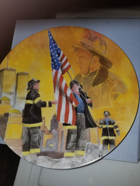 9 11 New York Firefighter Never Forget Limoges Collection Plates - Never Forget - Only 8 Left.