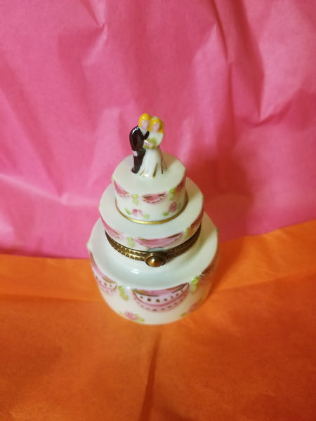 Bride And Groom White Pink Wedding Cake Limoges Box