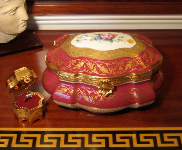 "Large Montaigne Chest - Limited Edition JEWELRY BOX - 1 of 50 First one Made - Penicaud - EXTREMELY RARE - Limoges Box - 9"" x 7"" x 5"""