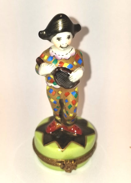 Clown Jester Harlequin w Mandoline- 1 of 500 First One Painted - Retired Rare Limoges Box
