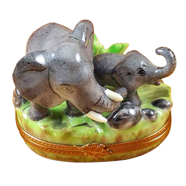 Elephant and Baby Limoges Box - Limoges Boxes Porcelain Figurines