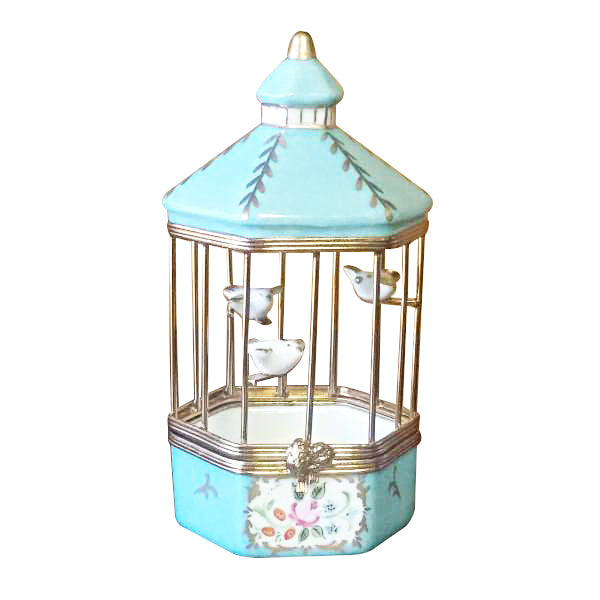 Tiffany Blue Bird Cage Limoges Box Figurine