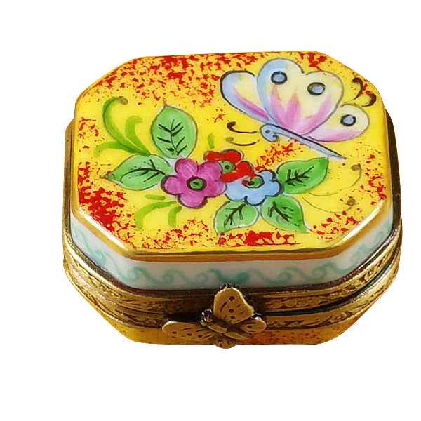 Butterfly on Flowers Limoges Boxes - Limoges Boxes Porcelain Figurines