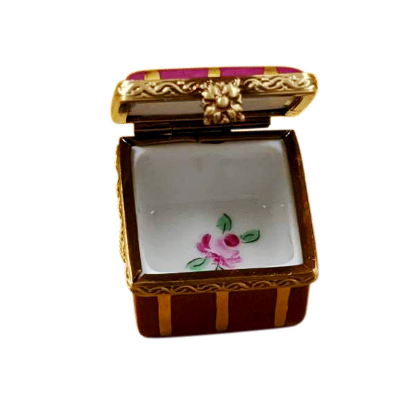 Mini Red Gold Strip Square With Flowers Traditional Limoges Box