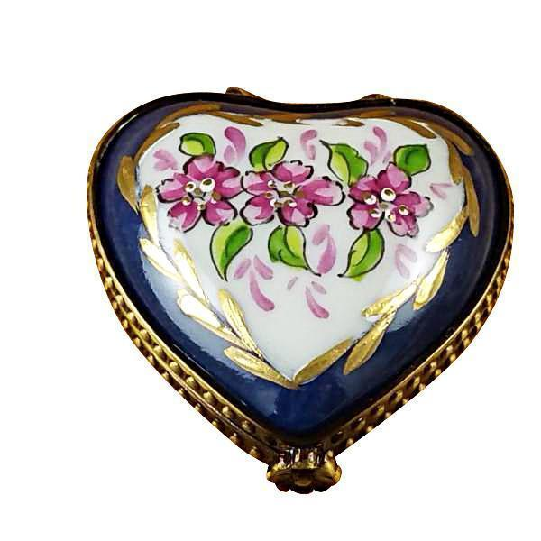 MINI HEART ROSES ON BLUE BASE LIMOGES BOXES BOUTIQUE