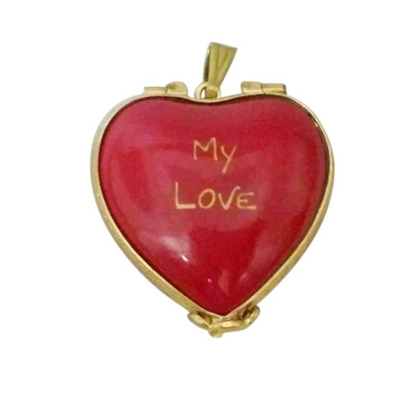 "RED ""MY LOVE"" HEART WITH PENDANT LIMOGES BOXES BOUTIQUE"