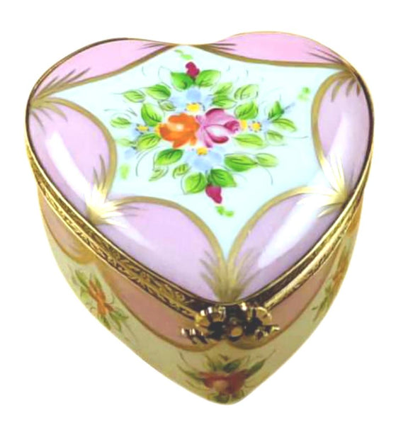 Pink Heart With Flowers Limoges Box