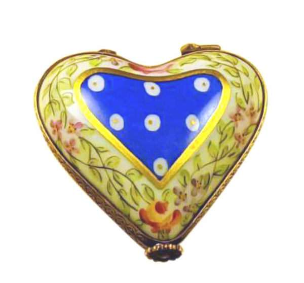 Blue Yellow Heart With Flowers Limoges Box