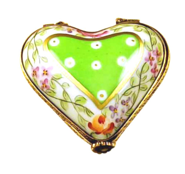 Green Heart With Flowers Limoges Box