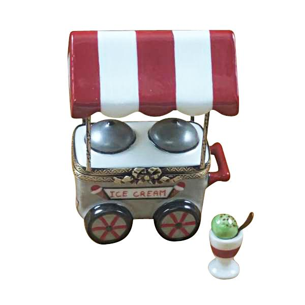 ICE CREAM CART WITH REMOVABLE ICE CREAM CUP AND SPOON LIMOGES BOXES BOUTIQUE