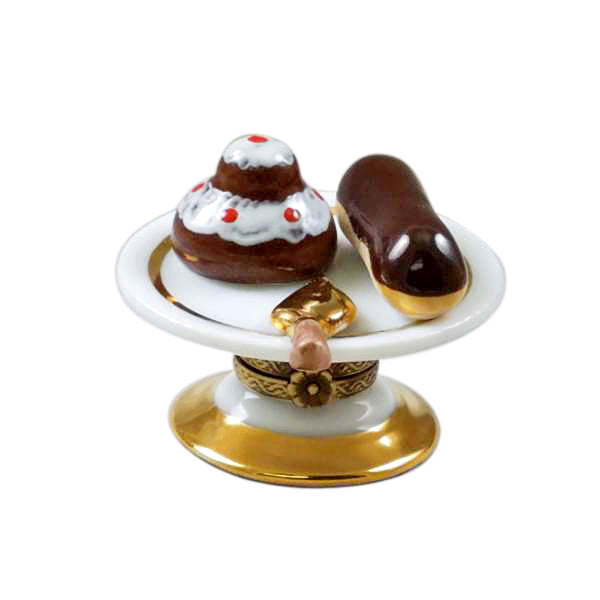 French Pastry Tray Limoges Porcelain Box Dessert Tray - Limoges Boxes Porcelain Figurines