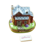 HOUSE/COTTAGE WITH WELCOME PLAQUE LIMOGES BOX