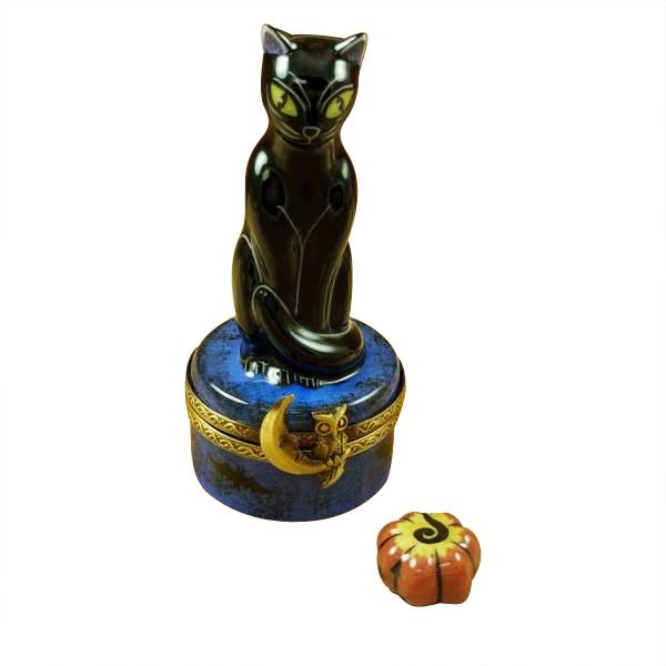 BLACK CAT ON NIGHT SKY SCENE W/ PUMPKIN LIMOGES BOXES - Limoges Boxes Boutique