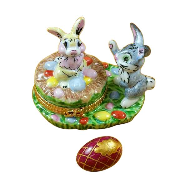 BUNNIES W/ EGGS LIMOGES BOXES - Limoges Boxes Boutique