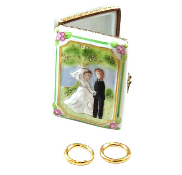 Wedding Book w Rings Limoges Box