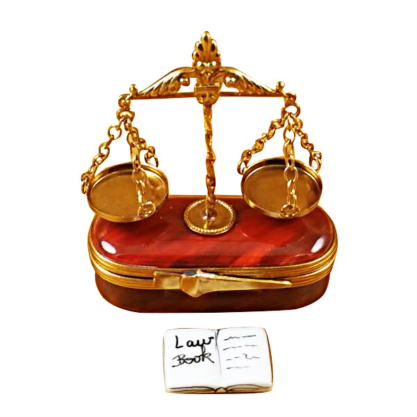 Scales of Justice Lawyer  Limoges Boxes - Limoges Boxes Porcelain Figurines