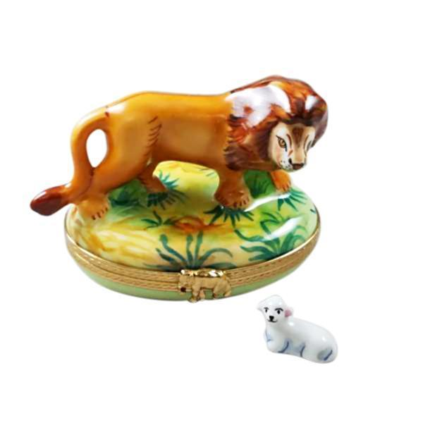 Lion W- Sheep Wild Porcelain Limoges Boxes Rochard