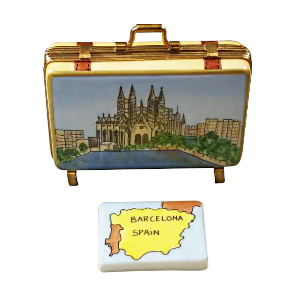 Barcelona Spain Suitcase  Limoges Porcelain Boxes Limoges Boxes Porcelain Figurines Collectibles French Gifts