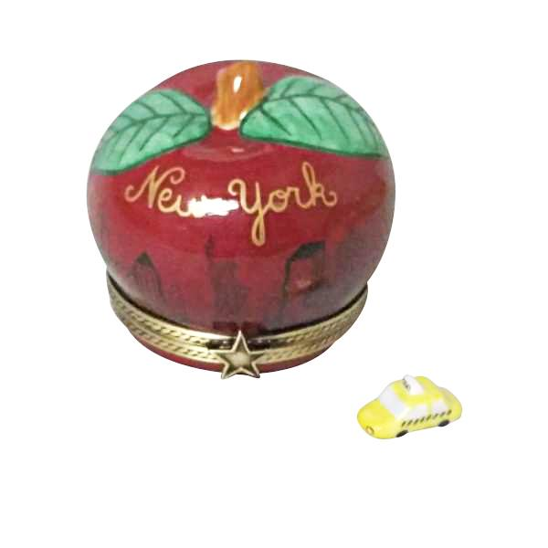 I LOVE NEW YORK APPLE WITH REMOVABLE TAXI LIMOGES BOXES - Limoges Boxes Porcelain Figurines