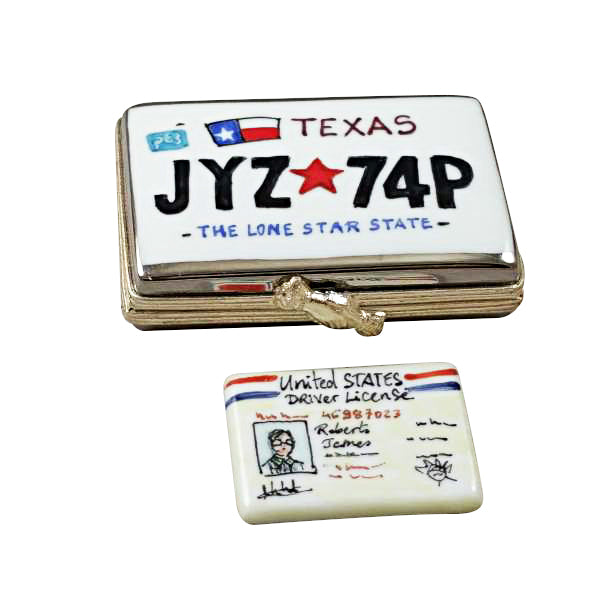 Texas License Plate W License Limoges Box Porcelain
