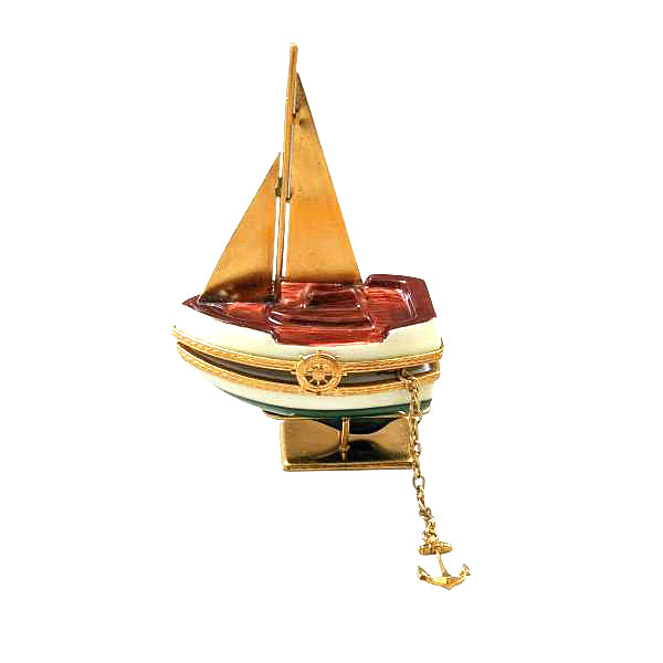 Sailboat Brass Sails Anchor on Stand Limoges Box