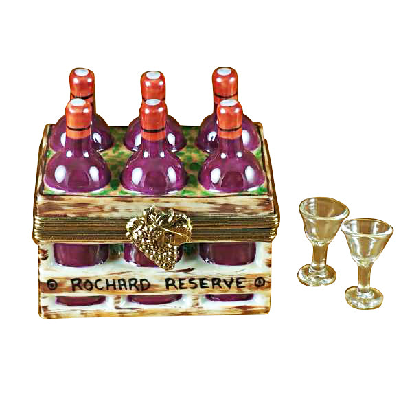 Wine Bottle in Crate w Two Glasses Rochard Limoges Boxes Porcelain - Limoges Boxes Porcelain Figurines