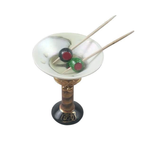 Martini Glass With Olives Rochard Porcelain Limoges Boxes