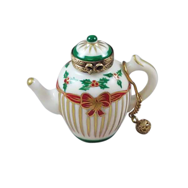 Christmas Tea Pot Limoges Boxes - Limoges Boxes Porcelain Figurines