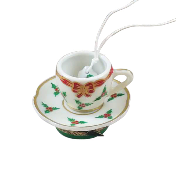 Christmas Tea Cup Limoges Boxes - Limoges Boxes Porcelain Figurines