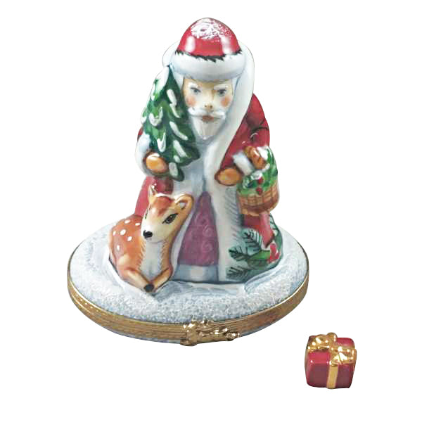 SANTA W REINDEER Rochard Limoges Boxes New - Limoges Boxes Porcelain Figurines