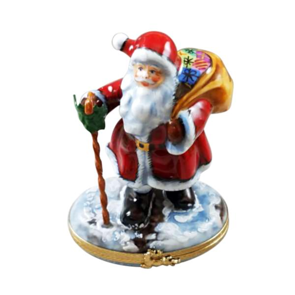 Santa Claus w Cane Toys Rochard Limoges Boxes France - Limoges Boxes Porcelain Figurines