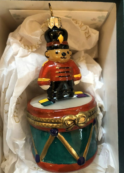 Mouth Blown Hand Painted Rochard Teddy Bear Drum Ornament NOT LIMOGES  - Vintage