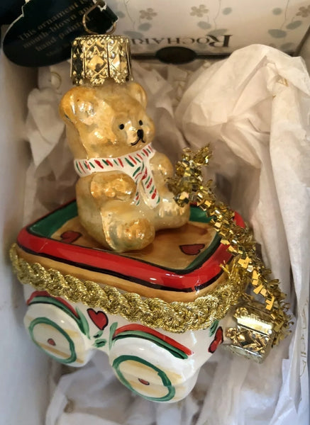 Mouth Blown Hand Painted Rochard Teddy  Bear in Wagon Ornament NOT LIMOGES  - Vintage
