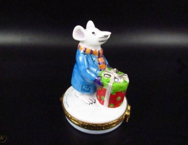 Mouse Bearing Christmas Present Limoges Box