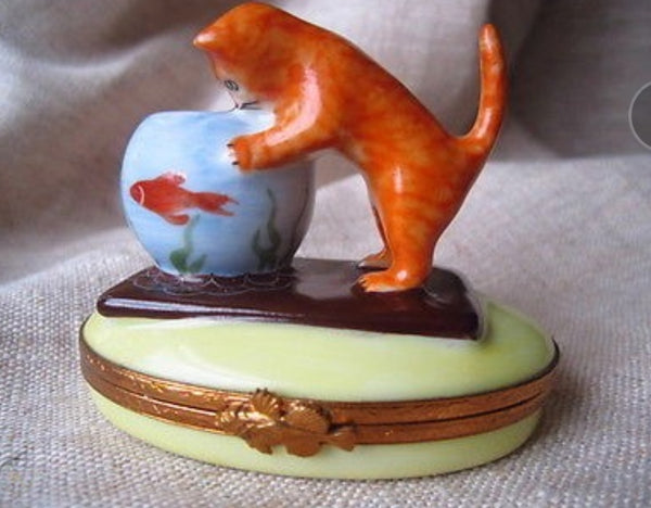 Kitten With Fish Bowl Limoges Box