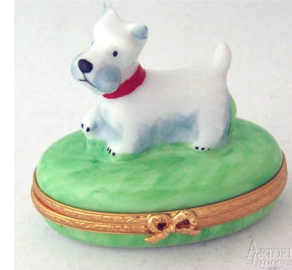 Westie or Terrier Dog Limoges Box