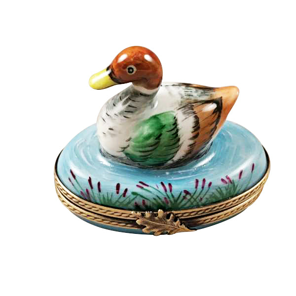 Mallard Duck Swimming Limoges Porcelain Box