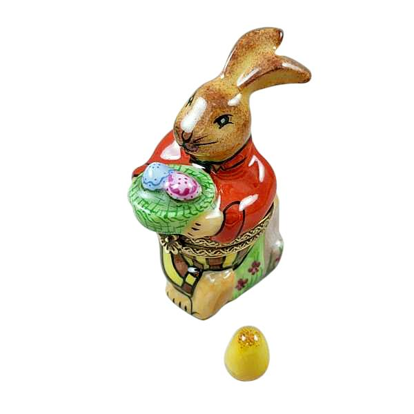BROWN EASTER RABBIT WITH REMOVABLE EGG LIMOGES BOXES - Limoges Boxes Porcelain Figurines