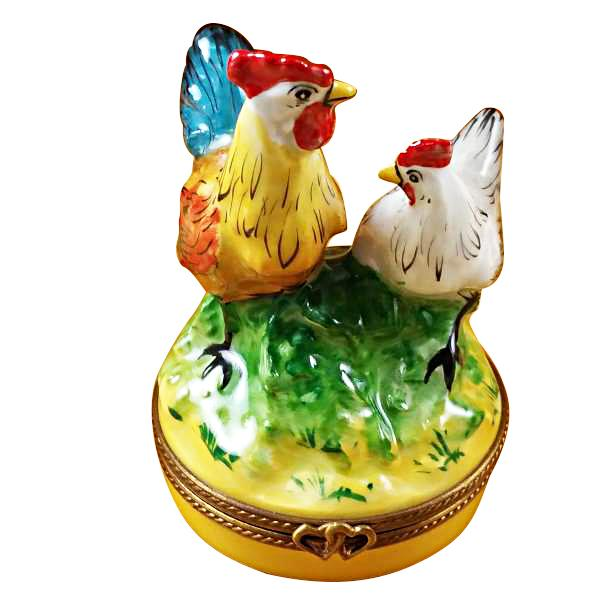 ROOSTER & CHICKEN LIMOGES BOXES - Limoges Boxes Porcelain Figurines