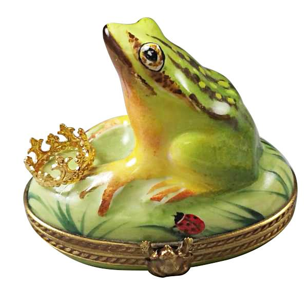 FROG WITH CROWN LIMOGES BOXES - Limoges Boxes Porcelain Figurines