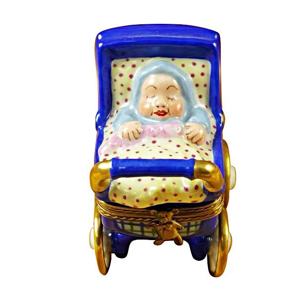BLUE BABY CARRIAGE LIMOGES BOXES - Limoges Boxes Boutique