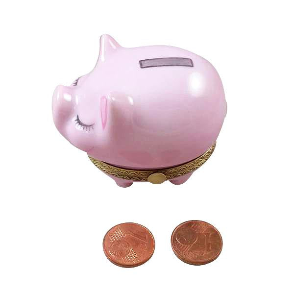PIGGY BANK WITH SLOT WITH COINS LIMOGES BOXES BOUTIQUE