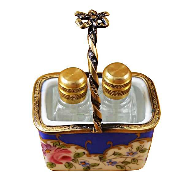 Blue Basket W/2 Bottles Limoges Boxes Limoges Boxes Porcelain Figurines Collectibles French Gifts