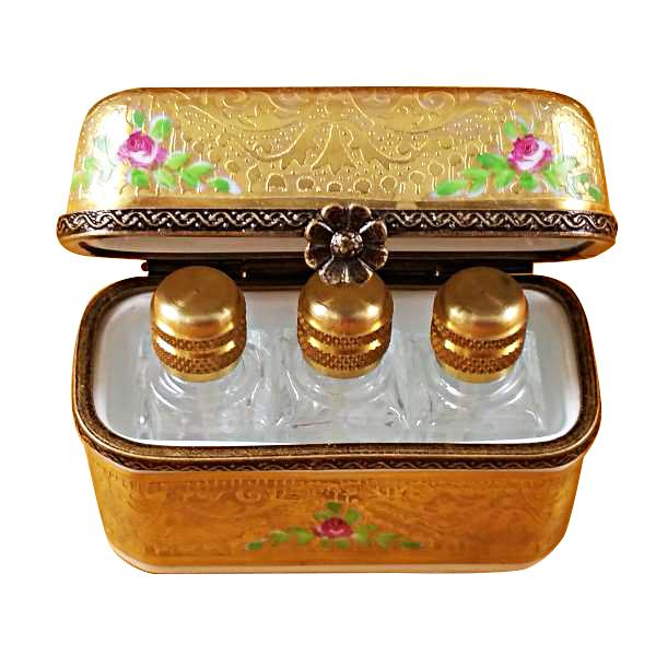 GOLD FLOWERY W/3 BOTTLES LIMOGES BOXES BOUTIQUE