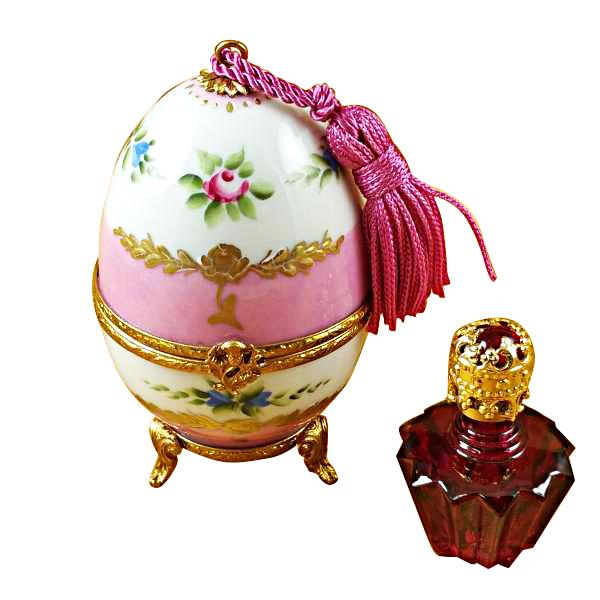 PINK EGG W/BOTTLE LIMOGES BOXES BOUTIQUE
