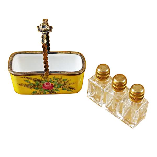 YELLOW BASKET W/3 BOTTLES LIMOGES BOXES - Limoges Boxes Porcelain Figurines